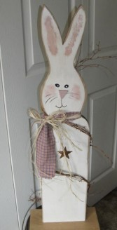 Tall Painted Wooden Bunny