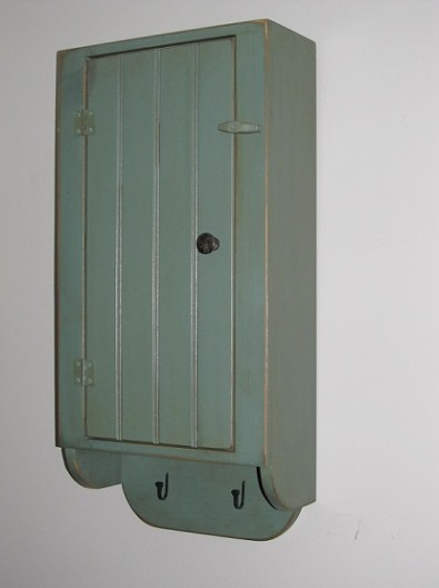 Country Painted Wood Hanging Cabinet