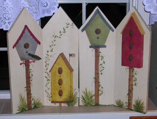 Painted Wooden Country Birdhouse Shutters