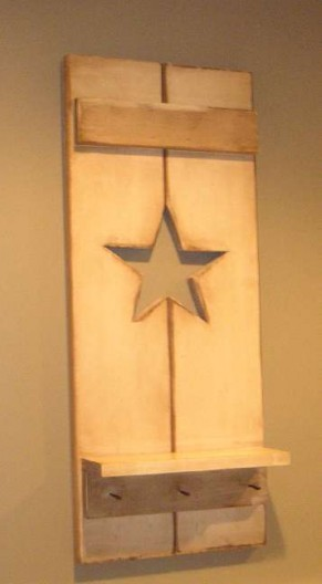 Painted Wood Star Shutter Shelf