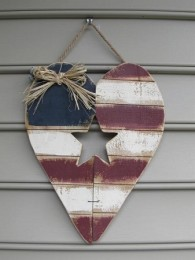 Patriotic Heart Door Flag