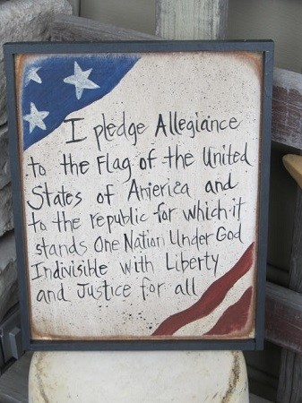 Framed Wood Pledge of Allegiance Print