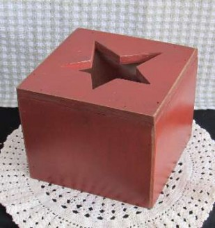 Wooden Painted Country Tissue Box Cover