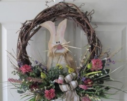 Spring door wreath with Bunny